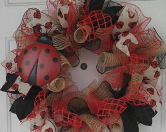 Ladybug welcome door wreath lady bug mesh wreath red black