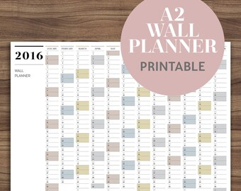 SALE | A2 Wall Planner 2016 Printable | Large Full Year Calendar | Modern Yearly Wall Calendar | 12 Months | Scandinavian | Instant Download