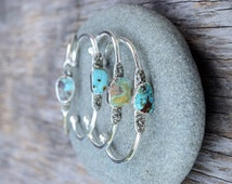 Silver Turquoise Cuff Bracelet, Raw Turquiose Pyrite Bangle, Genuine Turquoise  Free Form Stone, Mineral Jewelry, Summer Boho Chic Blue Cuff