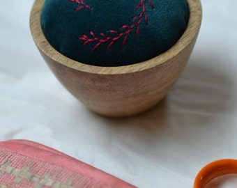 Dark Red Feathery Branches Hand Embroidered Velvet Pincushion