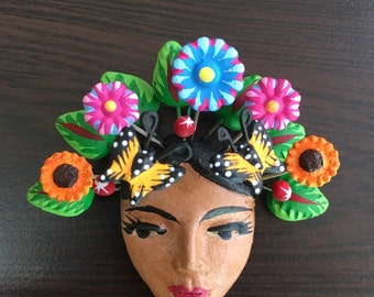 Frida Kahlo brooch made of clay and painted by hand