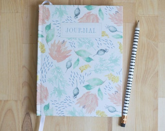 Hardback journal // hardcover prayer journal // watercolor floral pattern