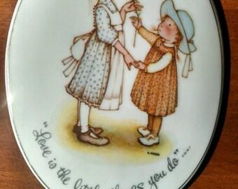 SALE!!  Pair of Holly Hobbie Porcelain Plaques