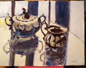 still life with creamer and sugar bowl