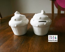 Ceramic Bisque Cupcake Bank  Ready to Be Painted   Party Cupcake  Birthday Craft