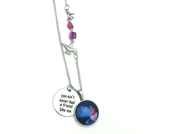 """Never had a Friend like me Genie Aladdin Inspired Glass Dome Beaded Charm 26"""" Chain Necklace Silver Tone"""