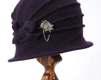 Purple 1920's Cloche flapper Hat