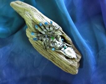 Native American, Shaman, Driftwood Spirits, Green Sea Glass, Native Feathers, Dream catcher, Seed Beads, Long Island- Driftwood & Sea Glass