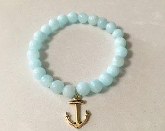 Blue Anchor Beaded Stretch Bracelet