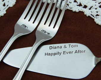 Сake Server and Forks Set, Personalized Wedding Forks and Cake Server, Wedding Gift, Wedding Decor