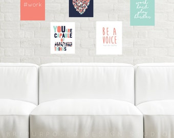 Printable Pack, Digital Download, Instant Gallery Wall, Printable Download, Art Print, Inspirational Quote