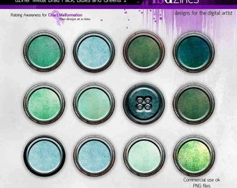 dziner Brad Pack Greens and Blues for digital scrapbooking, art journaling, photo composites