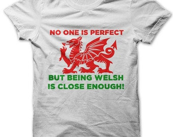 No one is born perfect but being Welsh is close enough t-shirt