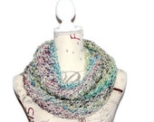 Hand Knitted Woman's Circle Scarf, Pastel Infinity Scarf, Knit Spring Scarf