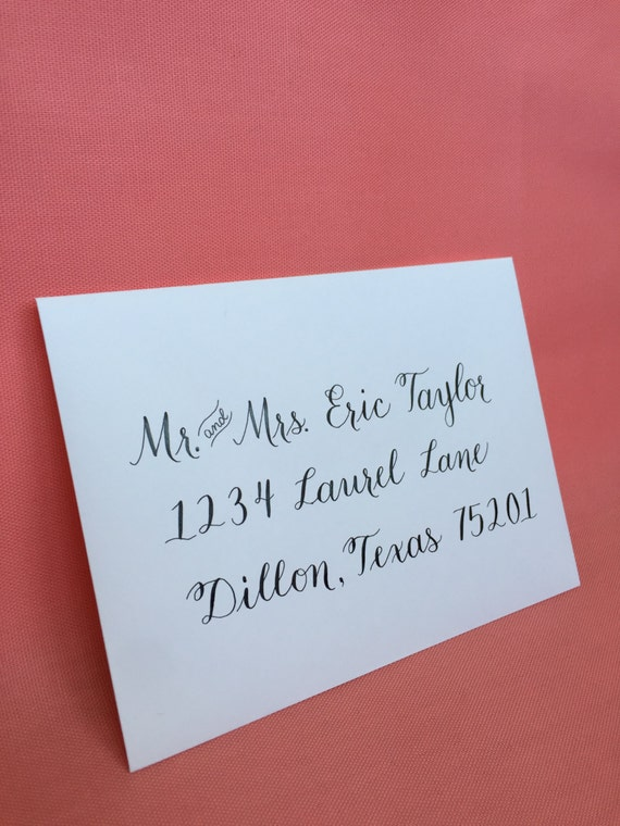 Custom modern calligraphy envelope addressing hand lettered