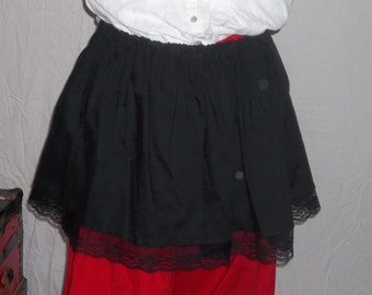 Steampunk black short skirt with black lace
