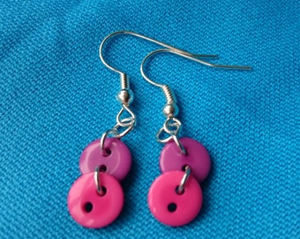 Pink and Purple Button Dangly Earrings.