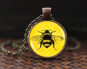 Vintage Bee Necklace, Honey Bee Pendant, Insect Jewelry, Nature Pendant, Gift for Him Her, Hipster Pendant