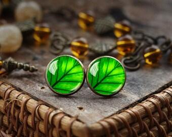 Green leaf stud earrings, leaf earrings, green earrings, nature Jewelry, glass dome stud earrings, green post earrings, nature earrings