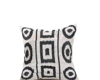 16x16 Uzbek hand-woven black & white ikat pillow cover in silk velvet