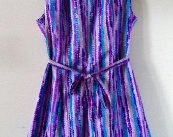 Vintage Purple Scalloped Print C&A Dress 1970s 1980s XL
