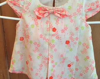 Girls Trapeze Top and Leggings/Vintage Japanese Juban Fabric/Size 5/OOAK