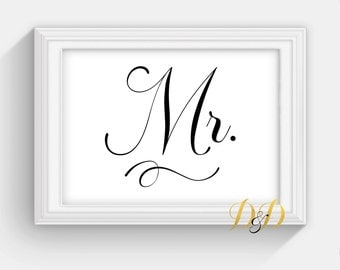 Mr and Mrs. matching  Wedding Sign Table Sign Wedding Sign Table Card Wedding reception decor Signage Printed Wedding Decor  SC13