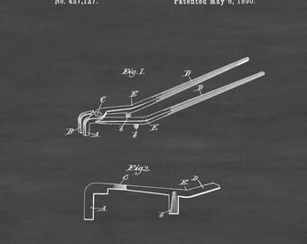 Blacksmith's Tongs Patent 1890 - Patent Print, Garage Decor, Workshop Decor, Vintage Tools, Metal Work, Blacksmith Tools, Barn Decor