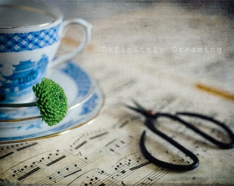Still Life Photography, Vintage Teacup & Old  Music, Fine Art Photograph, Kitchen Wall Art, Vintage Floral Art Photography