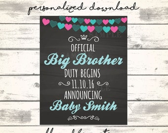 Cute Baby Announcement Big Brother Duty Begins! Cute Pregnancy Announcement, Chalkboard Baby Announcement, Going to be a Big Brother