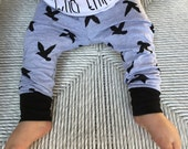 Baby leggings - Baby boy leggings - Hipster baby clothes - Black bird leggings - Toddler boy leggings - Hipster toddler - Baby boy harems
