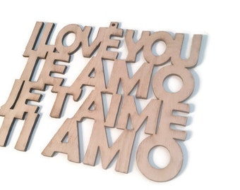 Wood Laser Cut I Love You Wall Art Sign - I Love You Te Amo Je Taime Ti Amo - Wedding Anniversary Gift Child Room Nursery Decor