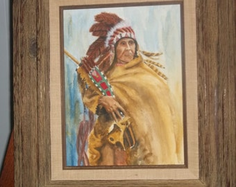 Brilliant Watercolor of Montana Blackfoot native american