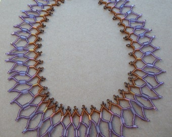 Lavender Lace purple and brown netted necklace