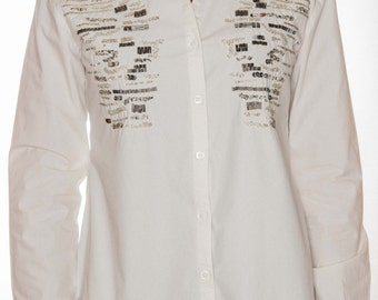 """Shirt """"KATE"""" 100% cotton Poplin, embroidered glass beads and sequin. metals, clothing, gift for woman"""