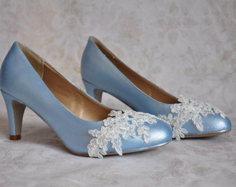 Blue wedding shoes something blue wedding shoes bridal shoes blue low heels low heel wedding shoes lace low heel wedding shoes rounded toe