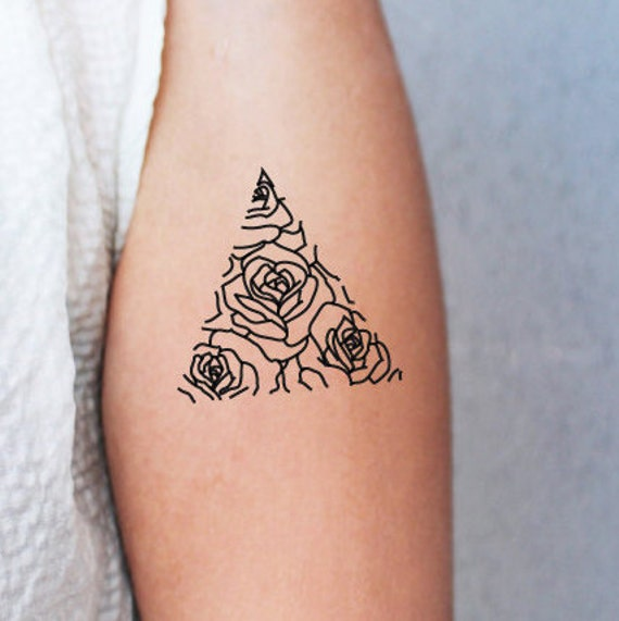 2 triangle rose temporary tattoos roses in a triangle rose. Black Bedroom Furniture Sets. Home Design Ideas