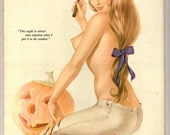 1964 October Vargas illustration pin and ink drawing print playboy magazine