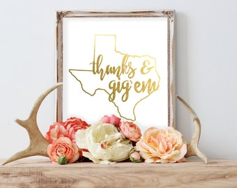 Thanks and Gig'em Texas A&M Aggie Gold Foil Print FREE US SHIPPING