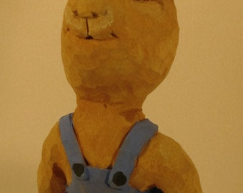 Wood carving Bunny in blue collectible gift