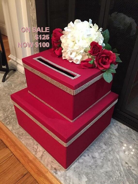 on sale red wedding card box wedding envelope box by twocraftymrs. Black Bedroom Furniture Sets. Home Design Ideas