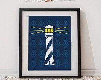 "Lighthouse Blue Nautical Wall Art Nursery Home Decor - Instant Download Digital Printable 8 x 10"""