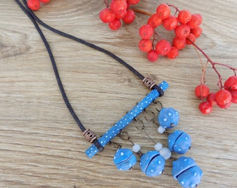 Bar pendant Polka dot necklace Statement necklace Long necklace Black Blue necklace Bib necklace Original handmade jewelry