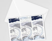 Day and Night in Snowy Japan | Miniature Postcard Art Print