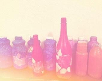 A repurposed, recyled, handpainted vase