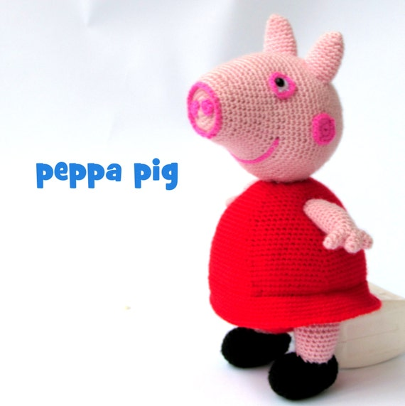 Knitting Patterns Peppa Pig Toys : Peppa pig stuffed Peppa pig soft toy knitted peppa pig
