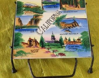 Mid Century Iconic Souvenir:1950's California Tile/trivet Set In Wrought Iron Frame