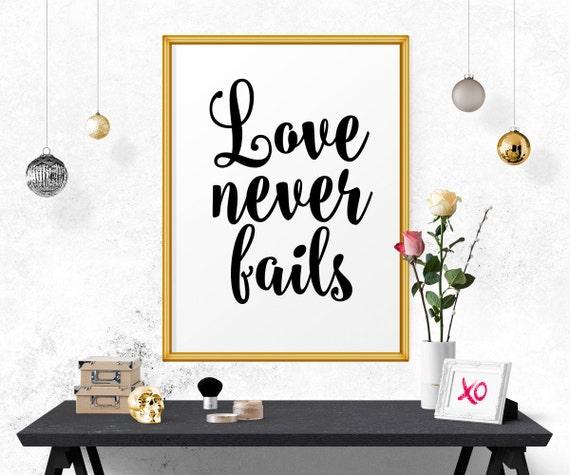 Inspirational Poster Love Never Fails Wedding Wall Art