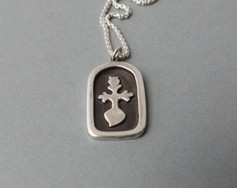 Pendant made of silver with a flaming cross, flaming cross, silver frame, in blackened silver frame, silver pendant