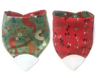 Baby Teething Bib- Hankerchief Bib- Teether Bib- Teething Corner- Chew Bib- Bandana Bib- Drool Bib- Bibdana- Silicone Bib- Toucan Birds